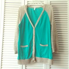 Teal and tan cardigan Xhilaration teal torso and tan arms cardigan size XL. Xhilaration Sweaters Cardigans