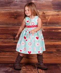 Another great find on #zulily! Light Blue & Red 'Love' Heart Dress - Infant, Toddler & Girls by Jelly the Pug #zulilyfinds