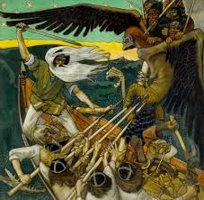 The Defense of the Sampo (Sammon puolustus) is an 1896 Romantic nationalist painting by Finnish painter Akseli Gallen-Kallela. The battle for the Sampo is also given a deeper connotation as a battle for the soul of Finland. Chur, Wildlife Art, Helsinki, Canvas Art Prints, Folklore, Art Museum, Art History, Illustrators, Illustration Art