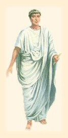 Roman man wearing a toga. What is around his head?