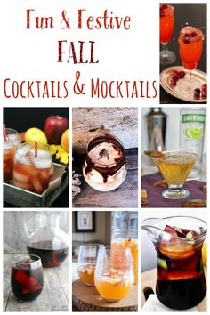 Fun and Festive Fall Cocktails and Mocktails recipes.  When you are planning your tailgates, chili cook-offs, pumpkin carving parties, even your Thanksgiving dinner, you need drinks. Find something for the kids and adults alike in this collection.  Make some now, or bookmark for later!