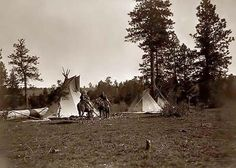 Above we show a vital photo of Camp Root Diggers. It was made in 1909 by Edward S. Curtis.    The illustration documents Three canvas tepees, with two women and a child on horseback.    We have compiled this collection of artwork mainly to serve as a vital educational resource. Contact curator@old-picture.com.