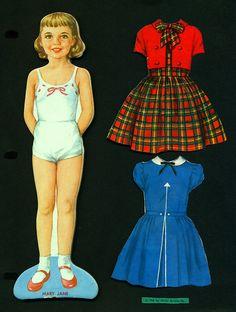 Vintage 1958 Milton Bradley Paper Doll Magnetic Magic Mary Jane