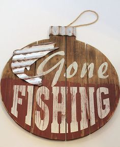 Gone Fishing Signs Decor Gone Fishing Wood Sign  Wood Signs Game Rooms And Kids S