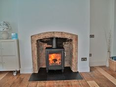 Original Victorian brick chamber with slate tiled hearth and Contura 51L wood stove, Fitted in Southend on Sea Essex 2010