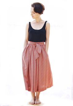 Vintage Pleated Red Midi Skirt With A Bow Fastening And by BumpDot, £31.00