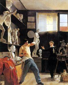 Wilhelm Bendz - The Sculptor Christensen in his studio 1827