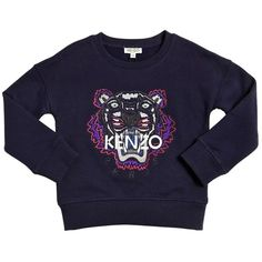 Kenzo Kids Kids-girls Embroidered Tiger Cotton Sweatshirt (1.050 NOK) ❤ liked on Polyvore featuring dark blue