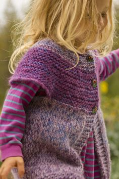 cute children's cardi (pic is mod of original vest pattern). quick knit. #pickles pattern with alternating one size free