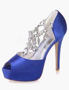 Rhinestones Peep Toe Platform Evening and Bridal Sandals Satin Wedding Shoes, Ballroom Shoes, Bridal Sandals, Occasion Shoes, Shoe Image, Blue Heels, Peep Toe Platform, Evening Shoes, Kid Shoes