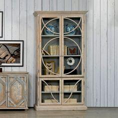 Solid Pine Glass Cabinet Transitional Modern Loft Style Matte Finish Downtown #Modern