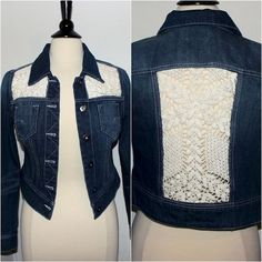Upcycled Jean Jacket with Crochet Lace Inserts by theeKissOfLife: