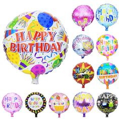 Multi-style happy birthday balloons         Great colors