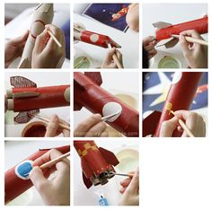 paper towel roll / toilet paper roll rocket ship craft for Grady