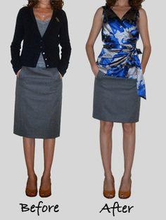 Wanneer je een rok aanschaft die eigenlijk te lang is, kies er dan voor om hem korter te (laten) maken, dat staat zoveel mooier. En niet teveel kledingstukken erboven, zodat je een blokjes effect krijgt wat je nog kleiner maakt.