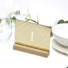 Gold Geometric Table Number - Acrylic with Timber Base - Printed Wedding Table Decoration - Cafe Restaurant Gold Table Numbers, Wedding Table Numbers, Free Pen, Acrylic Table, Gold Wedding Theme, Wedding Decorations, Table Decorations, Guest Book Sign, Groomsman Gifts