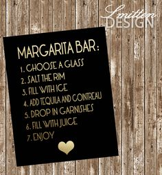 Hot pink, black and gold bridal shower - Margarita Bar sign - Printable by SmittenDesignStudio on Etsy https://www.etsy.com/listing/238358086/hot-pink-black-and-gold-bridal-shower