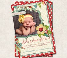 Baby Girl Birth Announcement Thank You by missbellaexpressions,