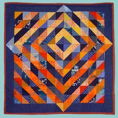 SUNRISE by Madeleine Appell on the SAQA site. Half-square triangles ~ 👍🏻color & how the lines break the border! Half Square Triangle Quilts Pattern, Half Square Triangles, Square Quilt, Blue Quilts, Scrappy Quilts, Mini Quilts, Batik Quilts, Orange Quilt, Geometric Quilt