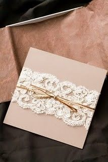 Paper and lace wedding invitations - DIY