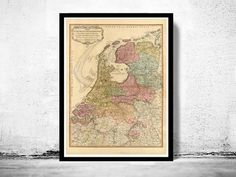 Old Map of The Netherlands 1794 Vintage Map
