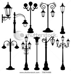 15 Best Street Lantern Vectors Silhouettes Images On Pinterest