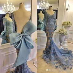 2016 Mermaid Backless Sheer Long Sleeve Evening Dresses Zuhair Murad Sexy Lace Applique Full Beading Tulle Party Prom Dresses