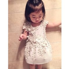 Could it get any cuter than this? ❤ Little girl in Mischka Aoki 'It's The Queen!' dress • regram from @yixi_tang #mischkaaoki
