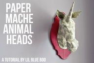 How to make a paper mache animal head....easier than you think!  The form is just newspaper with paper towel paper mache on top. A little Mod Podge and paper to coat the top and voila: instant home decor. #diy #tutorial