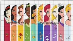 Dreaming Ice on Craftsy has a set of free Disney Princess bookmarks to cross stitch. Cross Stitch Bookmarks, Cross Stitch Love, Cross Stitch Alphabet, Cross Stitch Kits, Disney Cross Stitch Patterns, Modern Cross Stitch Patterns, Cross Stitch Designs, Cross Stitching, Cross Stitch Embroidery
