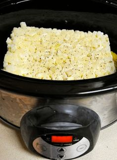 Paula Dean's crockpot potato soup recipe. Combine 1 bag frozen hash browns, 2 (14oz) cans chicken broth, 1 can cream of chicken soup, 1/2c chopped onion, 1/3tsp black pepper. Cook in crock pot on low for 5hours. Stir in 8oz block of cream cheese, cook 30 minutes, stir occasionally..