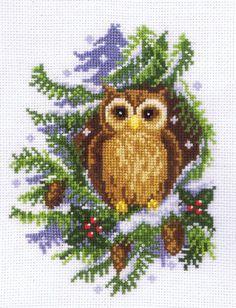 Snowy Owl - cross stitch kit by Vervaco Cross Stitch Owl, Beaded Cross Stitch, Cross Stitch Samplers, Cross Stitch Animals, Cross Stitch Charts, Counted Cross Stitch Patterns, Cross Stitch Designs, Cross Stitching, Cross Stitch Embroidery