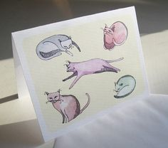 Cats Notecard by LaurajeanLaurajean on Etsy, $5.00