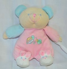 """9"""" Emily Baby Toy Bear Rattles Super Soft Pink Outfit Bunny Slippers Plush   #SeeDescription"""