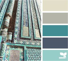 Tiled Hues color palette by Design Seeds Teal Color Schemes, Colour Pallette, Color Palate, Teal Colors, Color Combos, Colours, Teal Color Palettes, Teal Blue, Paint Colors