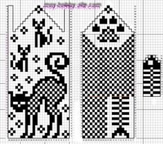 ※ Fяее Pаттеяи ※ cat and fish bones with a paw print Knitted Mittens Pattern, Knit Mittens, Knitting Socks, Hand Knitting, Knitting Charts, Knitting Patterns, Crochet Patterns, Crochet Cross, Crochet Chart
