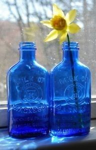 2 Cobalt Blue vintage advertising bottles I have a couple of these...one of them is Phillips's Milk of Magnesia LOL!!!