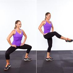 Step your right foot back out to your plie stance and repeat with the left leg. That's one rep. Continue alternating sides for 20 reps total.