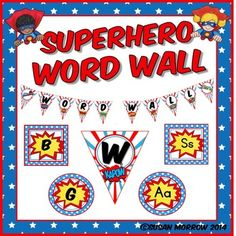 Superhero Theme Word Wall - EditableClick here to see all my Superhero Bundles to save $$$.* Revised  to include editable banners and word wall headers and 220 Dolch Word cards in a PowerPoint format!Make your Word Wall Pop! With this Superhero Themed Classroom Dcor Word Wall set.