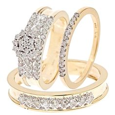 1 Carat Diamond Trio Wedding Ring Set 10K White Gold missy and