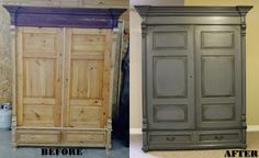 "Before and After Armoire. Annie Sloan Chalk paint; Graphite and French Linen, 50/50 mix. Graphite trim details. Graphite ""wash"" over details,carvings then dry ragged off. Then heavily dark waxed. Handles done in rubbed oil bronze. #ASCP #morethanpaint Check my other projects!"