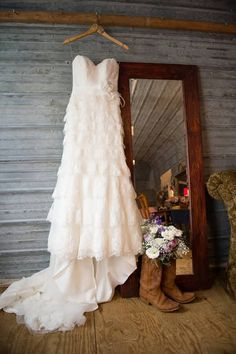 Maggie Sottero Lace Wedding Dress and Cowboy Boots
