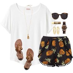 Relaxed Summer Outfit, Love the pineapple pants