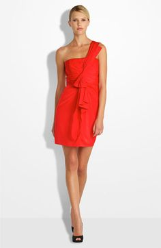 Gorgeous BCBG dress! I love the one shoulder, soft ruffle, and color. Want.