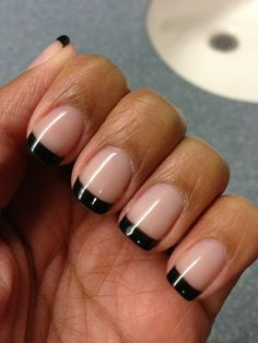 Black French Manicure Designs | Shellac black French manicure | Yelp