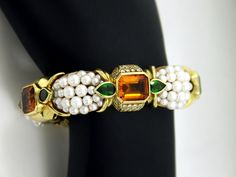 Stevens Pearl, Diamond, and Gemstone Bracelet | From a unique collection of vintage modern bracelets at http://www.1stdibs.com/jewelry/bracelets/modern-bracelets/