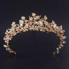 Bridal Tiaras Magnificent Diadem Clear Crystal Wedding Crown Hair Accessories | eBay #weddingcrowns Wedding Hairstyles With Crown, Bridal Hairstyles, Wedding Crowns, Crown Hair, Bridal Tiara, Crystal Wedding, Clear Crystal, Precious Metals, Hair Accessories