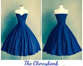 Royal BLUE Cherrybomb ROCKABILLY Stretch Knit Party Dress, Strapless Bridesmaid  Casual Wedding, Available in over 30 Custom Colors