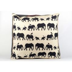 Elephant Migration - Grey, available in navy blue and olive green also..... £100 incl postage   #cushions #elephants #floorcushion
