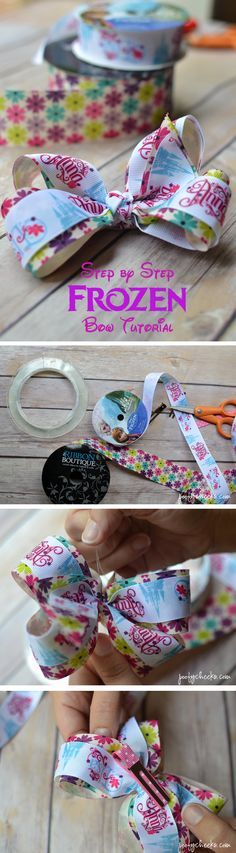 A step-by-step tutorial with lots of photos showing how to make a boutique style hair bow. Frozen Bow www.poofycheeks.com